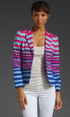 Nanette Lepore RUNWAY Straight A, bright striped neon blazer
