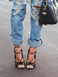 Rolled up boyfriend jeans with diva scrappy heels