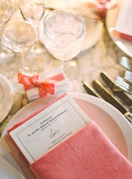 Pops of coral bring wedding tablescapes to life at @Four Seasons Resort The Biltmore Santa Barbara.