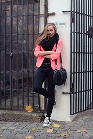 Neon blazer and leather chucks (by Nicole E) http://lookbook.nu/look/4273515-Neon-blazer-and-leather-chucks