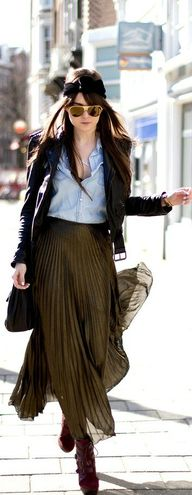 chambray and brown chic