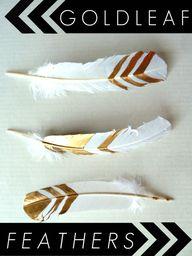 DIY Gold Leaf Feathe