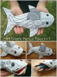 shark pencil pouch t