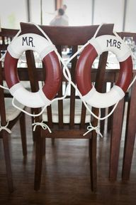 nautical wedding chairs - be each others 'lifesaver' - for an East Coast red and navy lobster themed wedding! See all the ideas here: http://burnettsboards.com/2012/09/maine-lobsters/