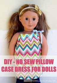 "18"" doll no sew dres"