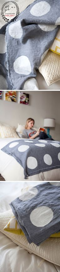 DIY Polka Dot Throw