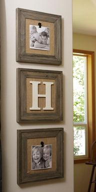 DIY Frame Home Decor Project...buy new or used matching frames and take out the glass.  Paint & cover metal pieces with burlap & add magnetic clips to hold pictures.  This way they can be changed out whenever you so desire. You can also add a fun element of a wooden initial, etc.  Instructions included.