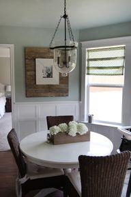 . White table. Blue/