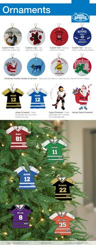 Hockey Ornaments. Pe