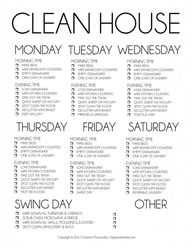 Cleaning schedule i