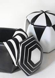 Black and white pouf
