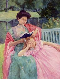 Auguste Reading to Her Daughter (1910). Mary Cassatt (American, 1844–1926). Impressionism. Oil on canvas. Private Collection.