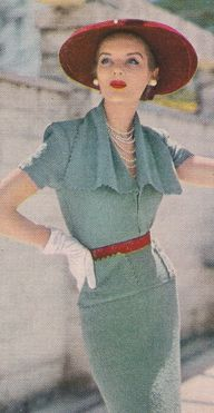 I love this look. Vintage Cascade Collar Dress Knitting Pattern