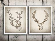 Deer art print set S