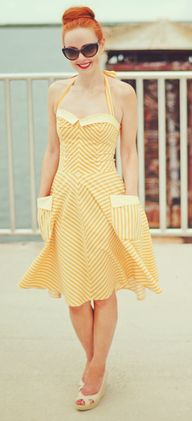 Retro dress - yellow