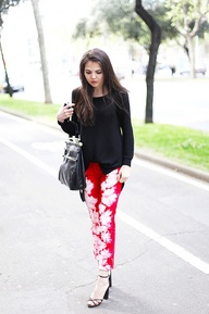 Red and white tie dye pants by Isabel Marant