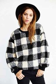 black + white plaid