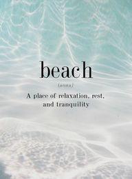 beach (n.) - a place