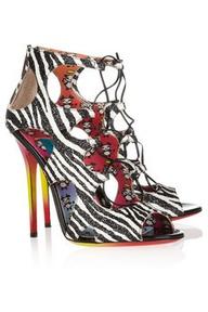 JIMMY CHOO  + Rob Pruitt Diffuse glitter-finished zebra-print sandals