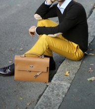 Yellow pants, dark g