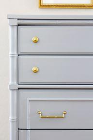 brass handles, gray