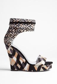 Corinne Runway Weave Ankle Strap Print Wedge