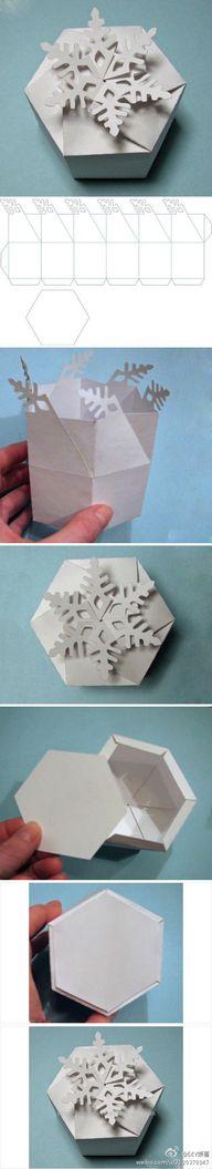 雪花盒子,把第二幅图打印剪裁就可以做出来