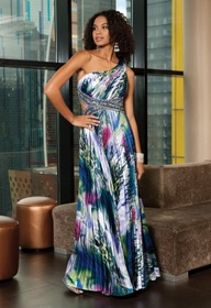 Tie Dye Print One Shoulder Prom Dress - Style # 22730/7449