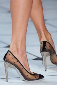 Polka dot clear heel