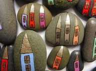 Houses painted on rocks