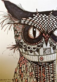 Ink drawing owl art...