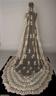 Brussels mixed lace veil 1870s