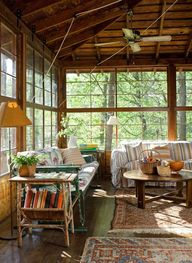 enclosed porch, lake