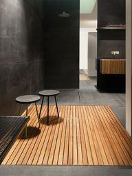 Teak shower tray by