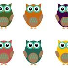 6 owl clip art files