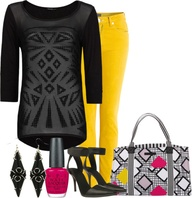 """Geometric top & bag"" by ljjenness ❤ liked on Polyvore"