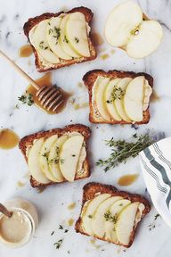 Apple + tahini toast