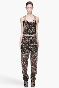 3.1 PHILLIP LIM Black and tan silk Faded Botanical Framed Overalls