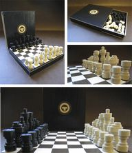 This was made ALL by paper. Can you believe? A travel-size chess set entirely out of paper.  The chess pieces are crafted out of tightly rolled strips of black and cream paper.  The box is millboard covered in paper (black for the exterior; white and brown for the board). Instructions on how to make it...crazy cool