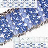 схема плетения голубого колье