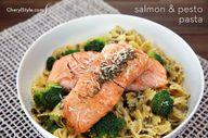 Salmon pesto pasta w