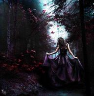 Purple Dress/Gown, in the Purple Woods/Forest. Fantasy Photography.