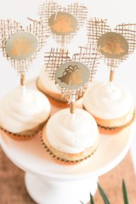 Rustic cupcakes at a bridal shower. Cute burlap toppers!