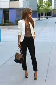 cream blazer + black
