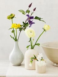 Fresh and Frugal ~ Glazed bud vases look most effective with a variety of different blooms, twigs, and leaves. Try grouping them on a tray for an instant centerpiece on a coffee table  -- Marcus Hay, freelance designer