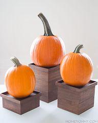 Pumpkins on pedestal