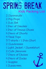 What to pack the kid