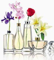 Vaso com vidros de perfumes.