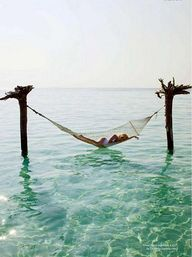 In a hammock on the