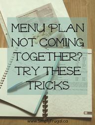 Creating a menu plan